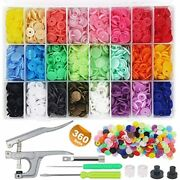 Eutenghao 1440pcs Plastic Snap Buttons No-sew Fasteners T5 Snaps With Pliers Kit