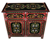 Moroccan Dresser Night Stand Table Wood Moorish Handmade And Painted Double Black