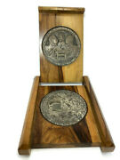 Camp David Accords 1978 Antique Peace Wood Silver Plated Engravings Collectible
