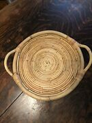 """Vintage Boho Mcm Bamboo Rattan Woven Reed Round Serving Tray 16.5"""""""