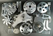Sbc Aluminum Pulley And Bracket Kit W Power Steering Long Water Pump And Alternator