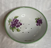 Antique Porcelain Colander Footed Dish Hand Painted Strainer Strawberry Bowl