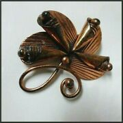 Unusual Signed Vintage Solid Copper Brooch Pin Bell Trading Post