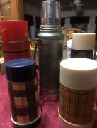Vintage Aladdin Thermos Lot Of 5 Stanley Red Brown Baige Blue Different Sizes
