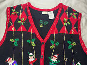 White Stag Plus 22w/24w Christmas Sweater Vest Elves Ornaments Holly