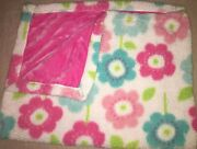 Little Miracles White Pink Aqua Flowers Floral Sherpa Velour Baby Blanket Euc