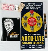Steve Mcqueen Owned Vtg Auto-lite Spark Plug Metal Sign W/ Auction Book And Card
