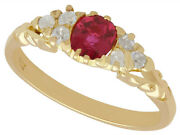 Antique Ruby And Diamond Ring In 18k Yellow Gold Size 7.75