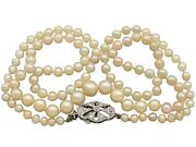Antique Single Strand Pearl Necklace With 0.25ct Diamond 9k White Gold Clasp