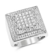Diamond Menand039s Ring - Set In 14k White Gold Prong Set - 1.71 Ct G-h Color