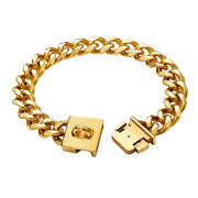 23mm Gold Chain Pet Dog Collar Strong Heavy Duty Thick 18k Cuban Link Chain
