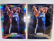 2019-20 Zion Williamson Silver And Base Prizm Panini Rookie Card Rc Lot2 Sharp