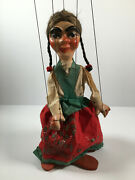 Vintage Folk Art Girl String Puppet Marionette Rustic Possibly Mexican