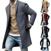 Mens Wool Coat Winter Trench Coats Outwear Overcoat Long Sleeve Button Up Jacket