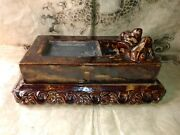 Large Antique Chinese Glazed Stoneware Ink Stone With Frog Motif And Chop Mark