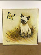 Vintage Oil Painting Mid Century Modern Siamese Cat Framed Wall Art Decor Turner