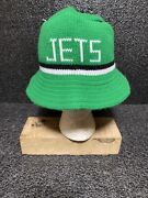 Vintage New York Jets Nfl Knit Bucket Hat Made In Usa Rare