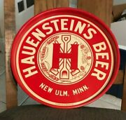 Mint Hauensteinand039s Beer - Brewing 14 Inch Metal Tin Litho Tray New Ulm Mn 1930and039s