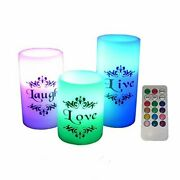 Egi - Set Of 3 Flickering Flameless Candles With Multi Color Remote Control A...