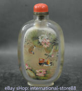 7.6 Old China Glass Inner Painting Palace Mandarin Duck Flower Snuff Bottle