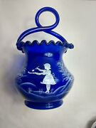 Fenton Cobalt Blue Mary Gregory Hand Painted Basket Girl With Trees