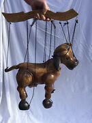 Vintage Theatrical Stage Puppet String Puppet Marionette Carved Wood Cow Model