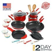 The Pioneer Woman Frontier Speckle 24-piece Cookware Combo Set Turquoise Red