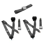 For Ford F-150 75-79 3-point Airplane Buckle Retractable Bench Seat Belts
