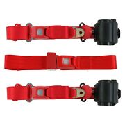 For Jeep Cj7 76-86 3-point Standard Buckle Retractable Bench Seat Belts, Red