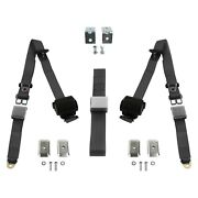 3-point Airplane Buckle Retractable Bench Seat Belts W Bracketry Charcoal