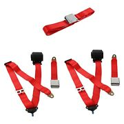 For Ford Thunderbird 80-82 3-point Airplane Buckle Retractable Bench Seat Belts