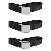 For Ford Thunderbird 67-76 2-point Airplane Buckle Lap Bench Seat Belts Black