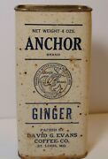 Vintage 1940s Anchor Graphic Spice Tin Ginger 4 Oz David Evans Coffee St. Louis