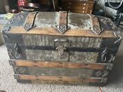 Vintage Steamer Trunk Storage Chest Camelback Humpback Brown Antique Toy Box.