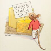 Collis Childrens Book Illustration Painting Antique Mouse Looking At Cheese 16