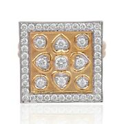 Natural 1.30 Ct Square Diamond Geometric Square Ring Solid 18k Rose Gold Jewelry