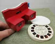 Vintage Gaf View-master With 18 Reels And Case Red White