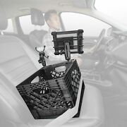 Black Milk Crate Vehicle And Mobile Office Work Station With Phone Mount And