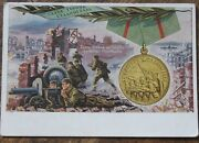 Ww2 Russian Medal Post Card Defensive Of Stalingrad War Pc Red Army Soldier Gun