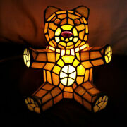 Vintage Stained Glass Teddy Bear Lamp Night Light Style Bear 7.5 Tall