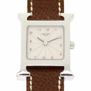 Hermes H Watch Watches Hh1.210 Stainless Steel/leather Ladies