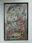 Karol 1958 Modern Painting Oil On Board Portrait Of A Girl And Her Doll