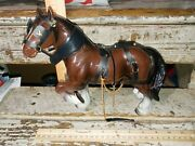 Vintage Hong Kong Hard Plastic Clydesdale Horse Figure W/accessories 3165