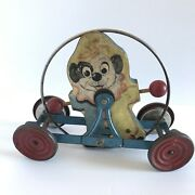 Rare Metal Wood Pull Toy The Clown Chime Dog Clown Antique Gong Bell Mfg Co.
