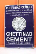Enamel Sign Board Old Vintage Advertising Chettinad Cement Collectible E-42