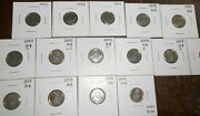 Lot Of 18 Canada 10 Cents Unc/bu Coins,1976,78,80,98,99,2000,02 P,03-wp,03p, 04