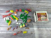 Vintage Plastic Mini Food Lot Of 62 Pieces Sears 49-11034 Toys With Box