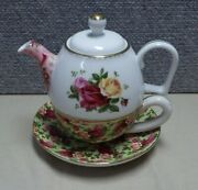 Royal Albert Old Country Roses Tea For One Teapot Cup Saucer Chintz Mismatched
