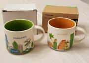 Lot Of 2 Starbucks Mugs You Are Here Collection Charlotte 2012 Orlando 2013 New