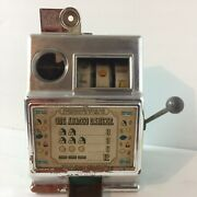 Vtg 1970andrsquos One Armed Banker- 5cent Toy Slot Machine 9.5andrdquo All Metal Usa